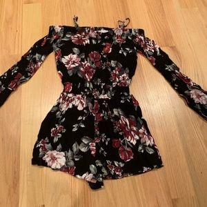 Long sleeve floral romper